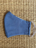 Cotton Face Mask - ADULT - denim grid