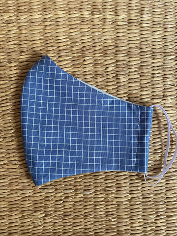 BACK IN STOCK Cotton Face Mask - ADULT - denim grid