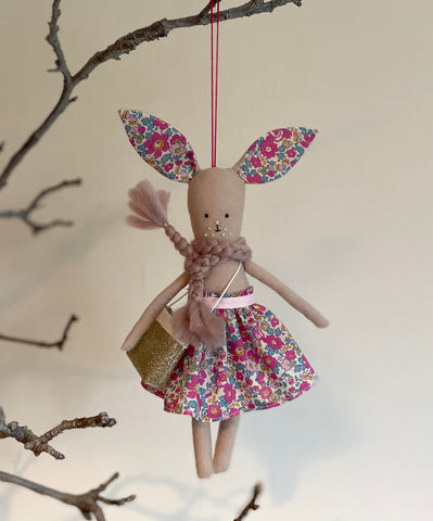 TillyBob Easter Bunny Decoration - ready to ship (Betsy Ann print)