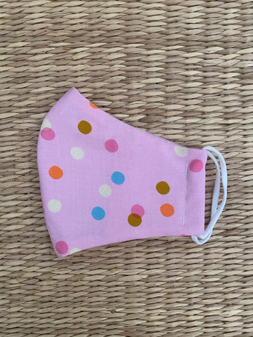 NEW! Cotton Face Mask - CHILD - polka dot peony