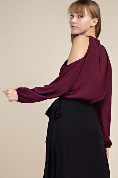 Cross-Front Cold Shoulder Blouse