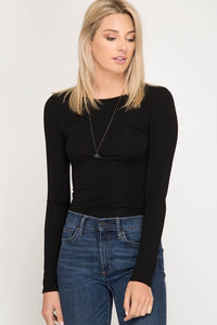 Long Sleeve Fitted Basic Top