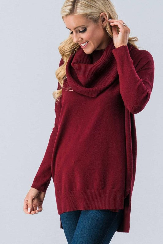 Cozy Cowl Neck Solid Tunic