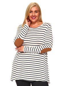 Bohemian Bliss Boutique,Striped Plus Size Top with Elbow Patches,Plus Tops,Poliana Plus