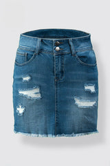 Vintage Wash Distressed Denim Plus Size Mini Skirt