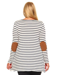 Striped Plus Size Top with Elbow Patches