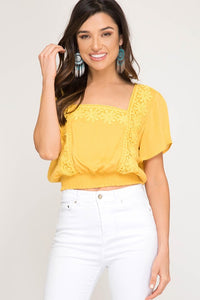 Bohemian Bliss Boutique,Sunflower Crop Top,Tops,La Vida