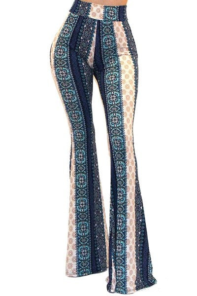 Bohemian Bliss Boutique,PRINTED BELL BOTTOM PANTS,Bottoms,Got Style