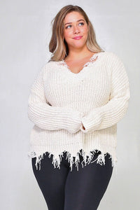 Plus Frayed Chenille Sweater