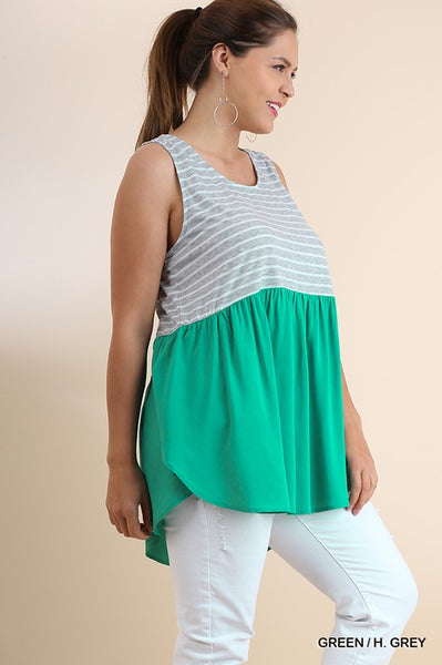 Bohemian Bliss Boutique,Umgee Plus Tank w/ Tulip Hem,Plus Tops,Umgee