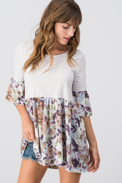 Bohemian Bliss Boutique,Faith Floral Baby Doll Top,Tops,Trend notes