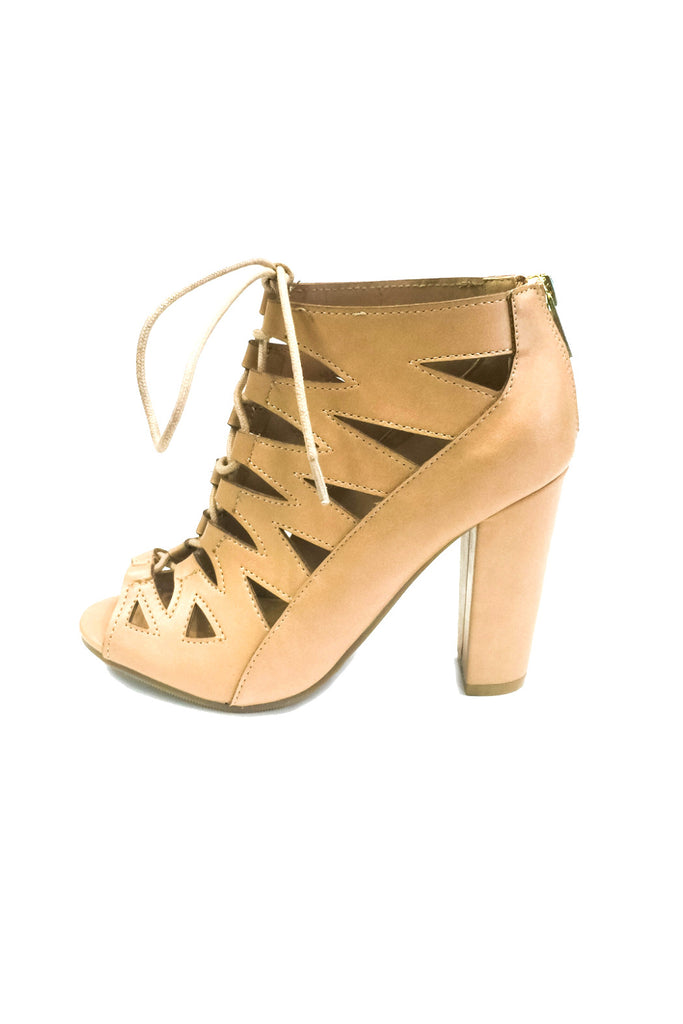Nude Ghillies w/ Chunky Heel, Shoes - Bohemian Bliss Boutique