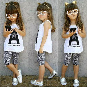 Bohemian Bliss Boutique,White T-shirt Leopard Pant Kids Tracksuit,Childrens,YaYabb baby store