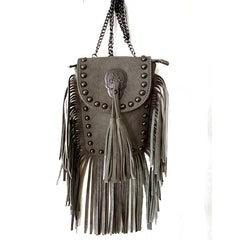 Rivets & Skull & Fringe Handbag, Handbags - Bohemian Bliss Boutique