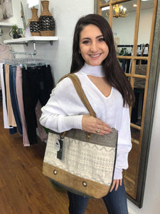 Oromos Leather and Canvas Tote Bag