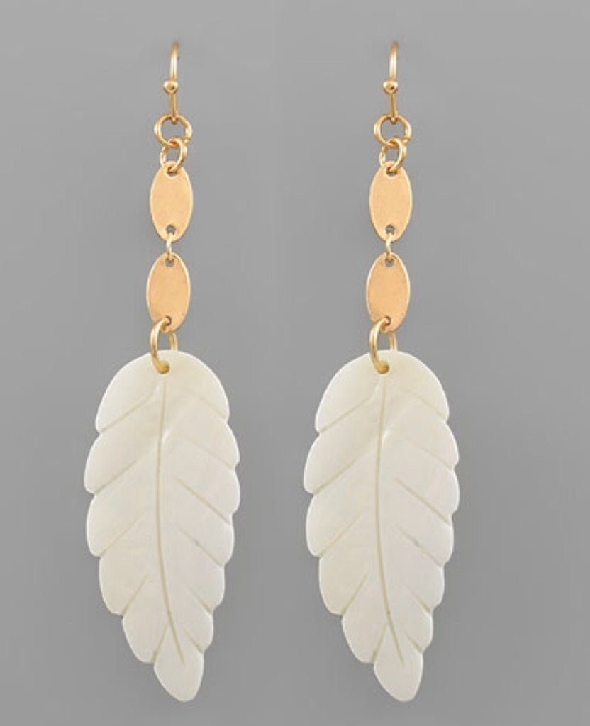 Leaf Acrylic Earrings, Earrings - Bohemian Bliss Boutique