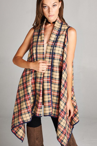 Bohemian Bliss Boutique,Boho Long Plaid Vest,Tops,Bohemian Bliss