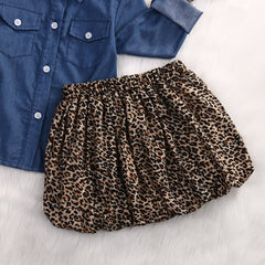 Long Sleeve Denim Top w/ Leopard skirt Set