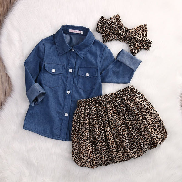 Bohemian Bliss Boutique,Long Sleeve Denim Top w/ Leopard skirt Set,Childrens,My Baby Store