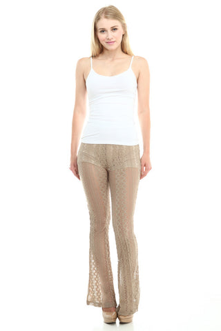 Bohemian Bliss Boutique,Mocha Lace Pants,Bottoms,Papermoon