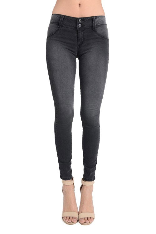 Bohemian Bliss Boutique,Double Button Mid Rise Jegging- Black,Bottoms,Sneak Peek