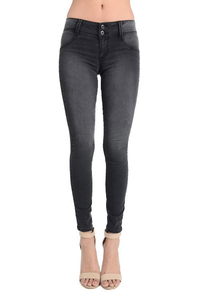 Double Button Mid Rise Jegging- Black