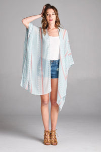 Bohemian Bliss Boutique,Blue Tribal Mix Print Kimono/Cardigan,Tops,Vanilla Bay