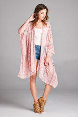 Pink Tribal Mix Print Kimono/Cardigan, Tops - Bohemian Bliss Boutique