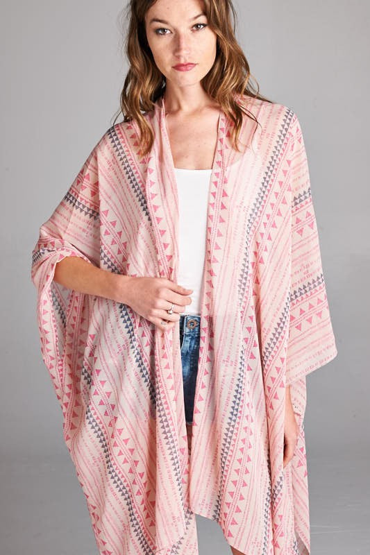 Pink Tribal Mix Print Kimono/Cardigan - Bohemian Bliss