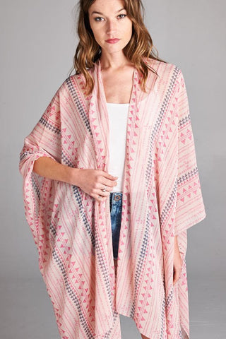 Bohemian Bliss Boutique,Pink Tribal Mix Print Kimono/Cardigan,Tops,Vanilla Bay