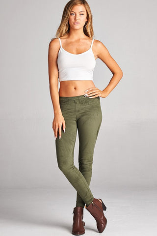 Bohemian Bliss Boutique,Suede Leggings -  Olive,Bottoms,Faith Apparel