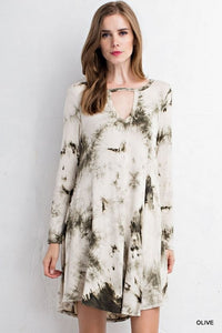 Bohemian Bliss Boutique,Olive Tie-dye dress featuring keyhole detail on front,Dresses,jodifl