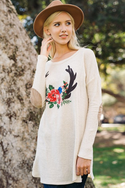 Long Sleeve Printed Knit Top with Elbow Patches - Oatmeal