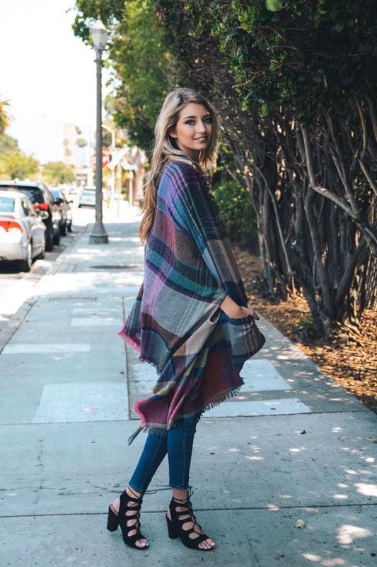 Bohemian Bliss Boutique,Plaid Blanket Ruana Poncho with Pockets,Tops,Leto Accessories