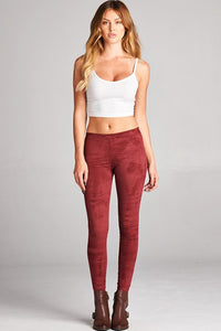 Bohemian Bliss Boutique,Suede Leggings - Burgundy,Bottoms,Faith Apparel