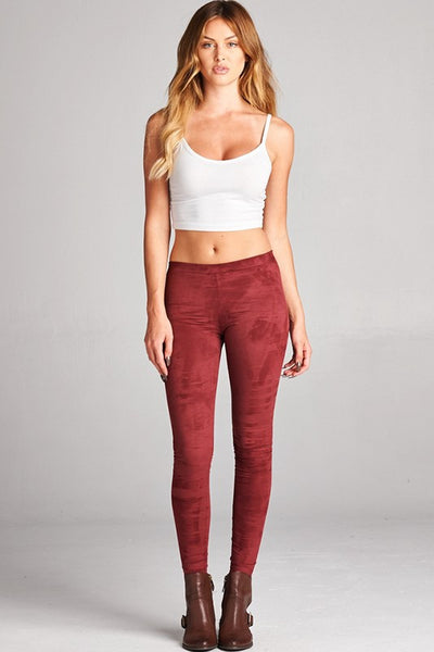 Suede Leggings - Burgundy