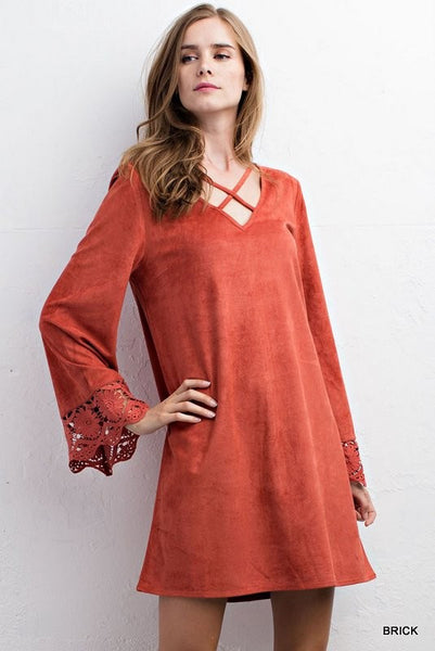 Faux Suede Dress with Criss Cross Neck and Bell Sleeves - Brick Color - Bohemian Bliss