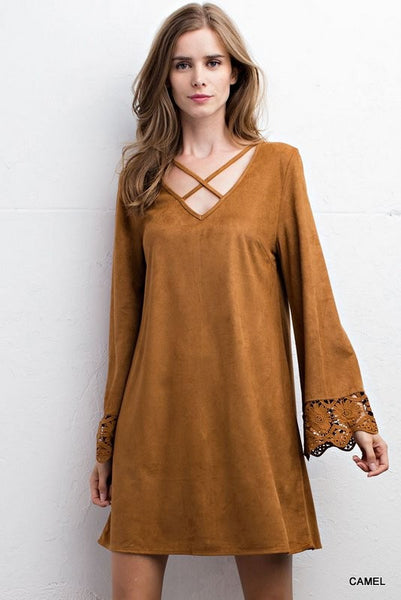 Faux Suede Dress with Criss Cross Neck and Bell Sleeves - Camel Color - Bohemian Bliss