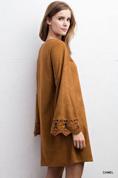 Bohemian Bliss Boutique,Faux Suede Dress with Criss Cross Neck and Bell Sleeves - Camel Color,Dresses,jodifl