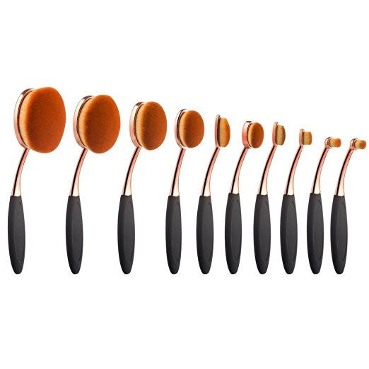 Bohemian Bliss Boutique,Rose Gold 10 pcs Oval Makeup Brush Set,Beauty,ALiexpress