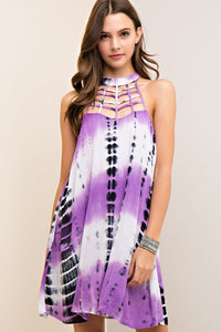 Bohemian Bliss Boutique,Printed a-line Mock Neck Dress - Tie Dye Lavender,Dresses,Entro