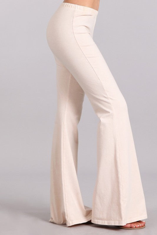 Nude Mineral Washed Bellbottoms, Bottoms - Bohemian Bliss Boutique