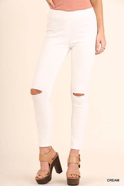 Bohemian Bliss Boutique,Umgee Knee Cut Jeggings,Bottoms,Umgee