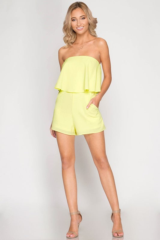 Bohemian Bliss Boutique,NEON ROMPER WITH POCKETS,Jumpsuits,Cloudwalk