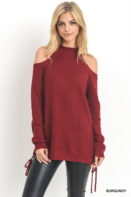 Cold Shoulder Sweater Top with Halter Neck, Tops - Bohemian Bliss Boutique