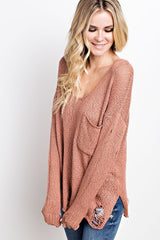 V-NECK RIPPED POCKET SWEATER