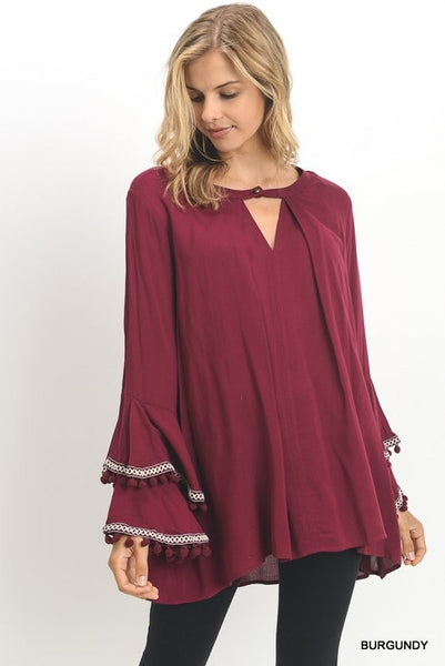 Bohemian Bliss Boutique,Solid Tunic with Buttoned Keyhole & Bell Sleeves,Tops,jodifl