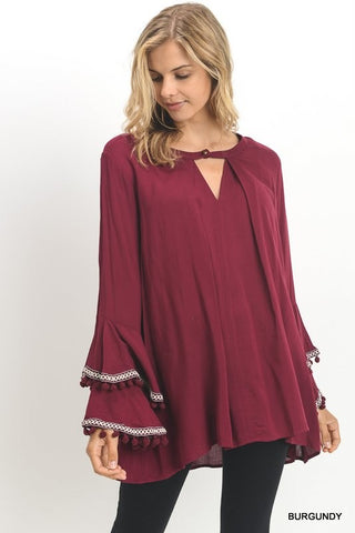 Solid Tunic with Buttoned Keyhole & Bell Sleeves