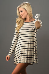Stripe Long Sleeve Tunic w/ Elbow Patch