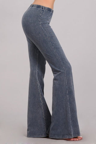 Mineral Washed Bellbottoms - Blue Grey